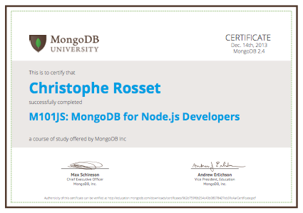 MongoDB for Node js Developers – certificate | Topheman JS